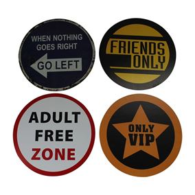 Set of 4 Road Sign Retro Wall Art (40cm)