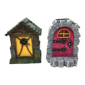 Fairy House Solar Powered Garden Door Light (Twin Pack)