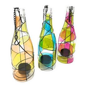 Hanging Retro Glass Bottles with Battery Tealights (3 Pack)