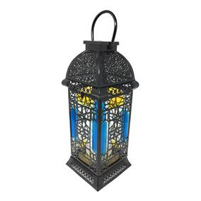 Large Moroccan Solar Powered Garden Candle Lantern