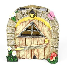 The Willowdale Collection Natural Yellow Triangle Fairy Door Solar Light