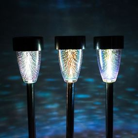 Set of 3 Solar Powered Stargazer Holographic Border Lights