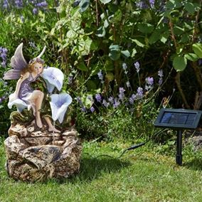 Magical Fairy On Rock Solar Water Feature