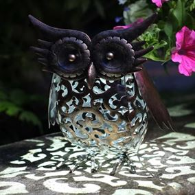 Metal Scroll Owl Solar Light
