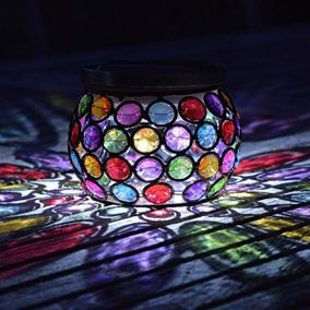 Multi Coloured Gem Glowing Jar Solar Light