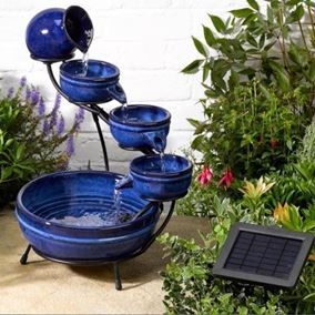 Neptune Blue Ceramic Solar Cascade Water Feature