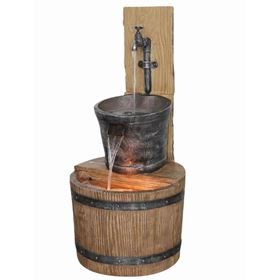 Oak Barrel with Tap Lit Garden Water Feature
