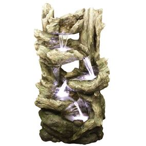 Open Driftwood Falls Lit Water Feature with LED Lights