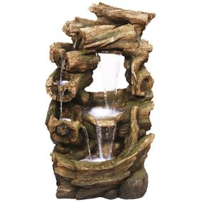 Open Woodland Multi Falls Water Feature with LED Lights