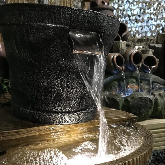 additional image for Oak Barrel with Tap Lit Garden Water Feature