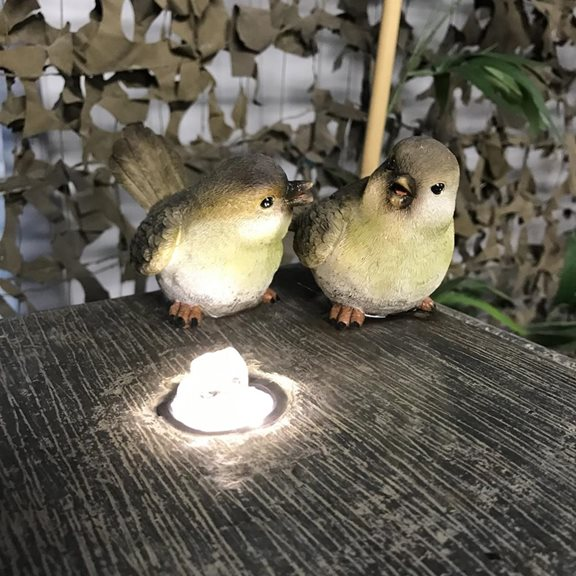additional image for 2 Birds on Stone Column with Water Feature with LED Lights