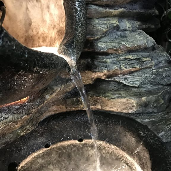 additional image for Four Pots on Rock Wall Lit Water Feature