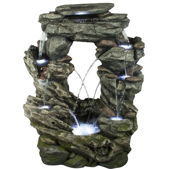 Connecticut Rock Falls Water Feature with LED Lights