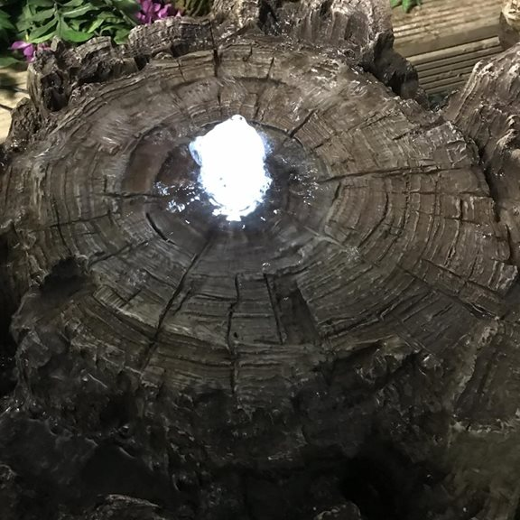 additional image for Tree Trunk Section Bubbling Water Feature with LED Lights