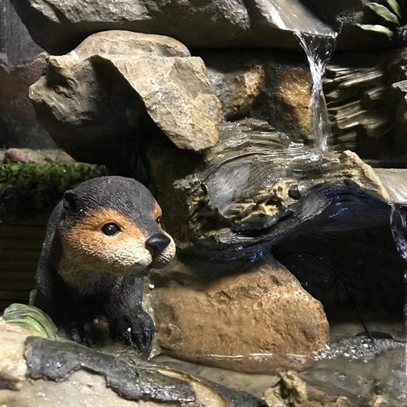 additional image for Otters Building Dam Water Feature with LED Light