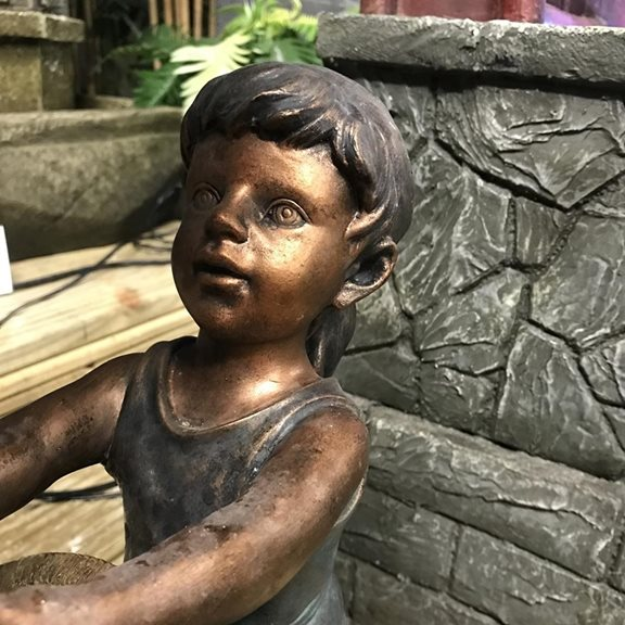 additional image for Children at Tiled Roof Well Water Feature