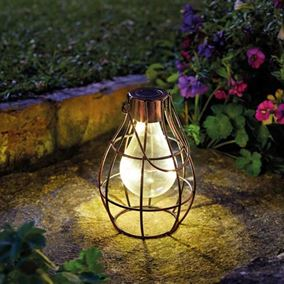 Pack of 2 Firefly Bronze Eureka Solar Powered Retro Garden Lights