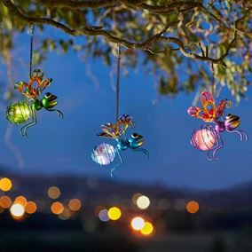 Pack of 3 Colourful Bug Novelty Garden Solar Lights