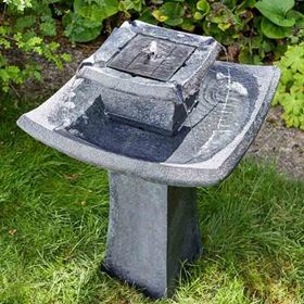 Pagoda Oriental Solar Powered Garden Water Feature Bird Bath