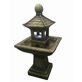 Pagoda on Column Lit Water Feature with LED lights