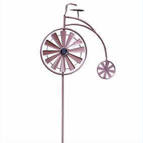 Penny Farthing Giant Solar Powered Garden Wind Spinner with White LEDs