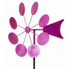Pink Iron Garden Windmill with Ground Spike Circle Design
