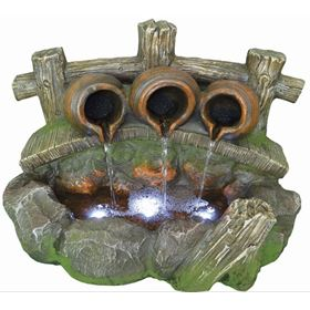 Pouring Pots on Bridge Lit Water Feature