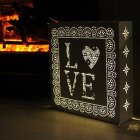 Pre Lit Parisian Love Wall Art with Memory Timer