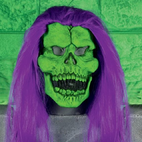 additional image for Neon Coloured Scary Rubber Skull Mask with Hair Halloween Fancy Dress