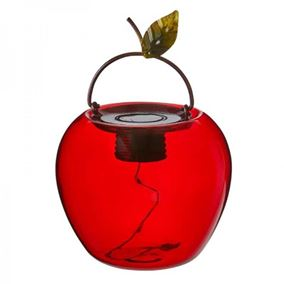 Red Apple Glass Solar Powered Lantern