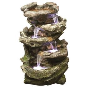 Rock & Wood Falls Water Feature with LED Lights