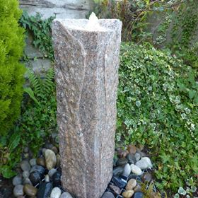Rustic Pink Juro Granite Column Fountain Water Feature Kit