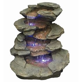 Seattle Slate River Falls Lit Water Feature with LED Lights