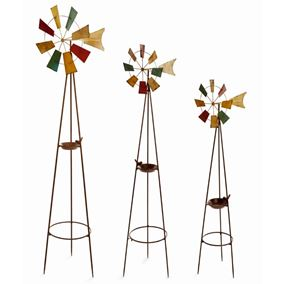 Set of 3 Large Metal Garden Windmills