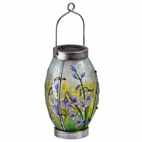 Solar Powered Bluebell Glass Table Lantern