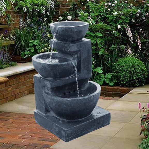 Solar Powered Charcoal Fountain Water Feature with LED Lights