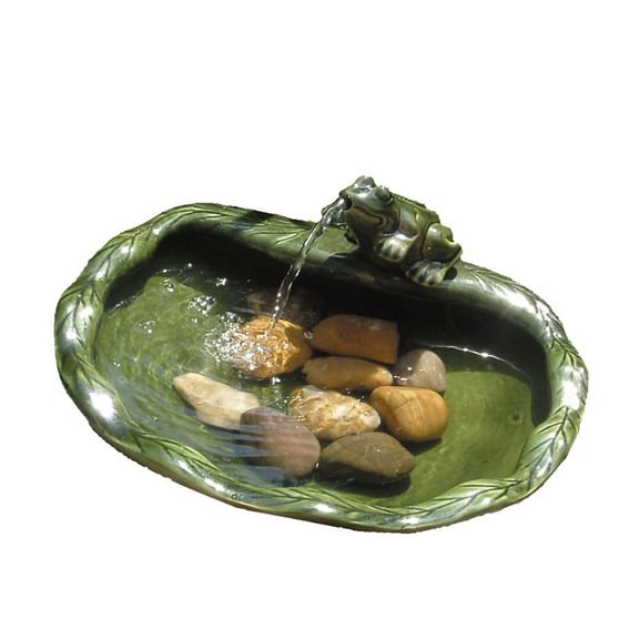 additional image for Solar Green Glazed Frog Water Feature