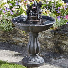 Solar Powered Children Tipping Pail Garden Water Feature