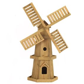 Large Wooden Windmill with Moving Sails