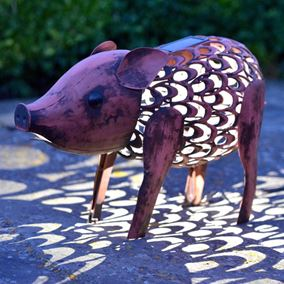 Solar Powered Metal Pig Silhouette Garden Light