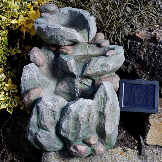 Solar Powered Rock Fall Garden Water Feature
