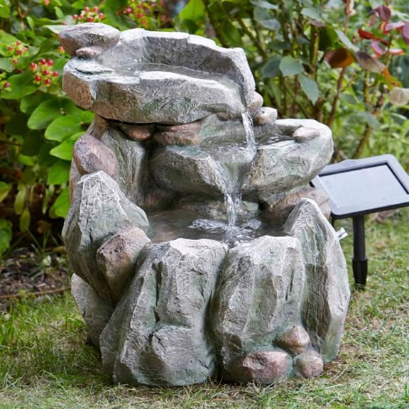 additional image for Solar Powered Rock Fall Garden Water Feature