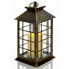 Square Antique Gold Candle Lantern (Battery Operated)