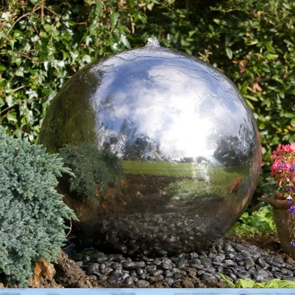 additional image for 75cm Sphere Stainless Steel Water Feature with LED Lights