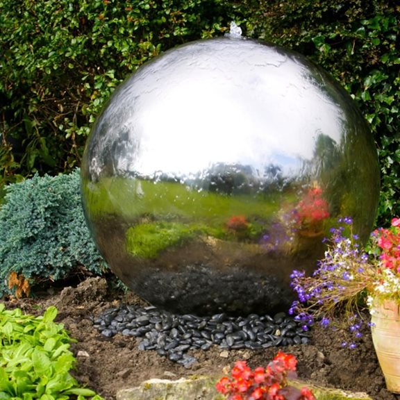 100cm Sphere Stainless Steel Water Feature with LED Lights