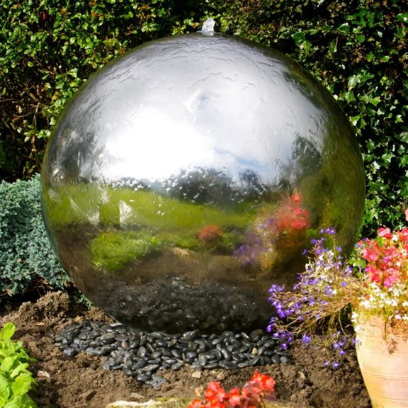 additional image for 100cm Sphere Stainless Steel Water Feature with LED Lights