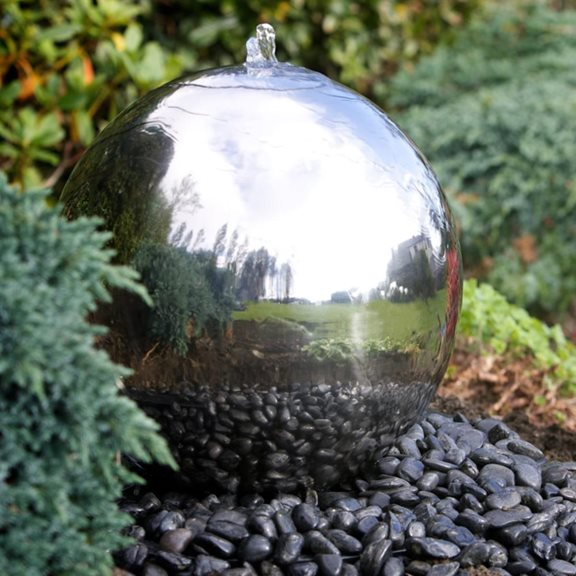 50cm Sphere Stainless Steel Water Feature with LED Lights