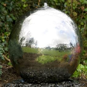 60cm Sphere Stainless Steel Water Feature with LED Lights