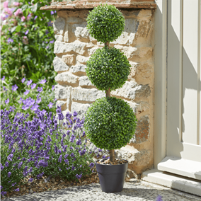 Pack of 2 Trio Topiary Trees in Pots with Pebbles (80cm)