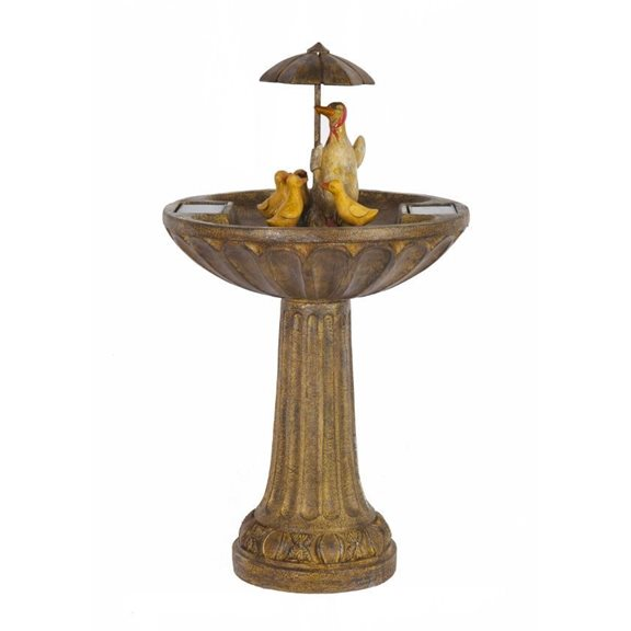 additional image for Umbrella Duck Family Birdbath Solar Water Feature